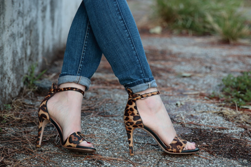 Joie Jaclyn leopard print sandals, cuffed skinny jeans with ankle strap sandals
