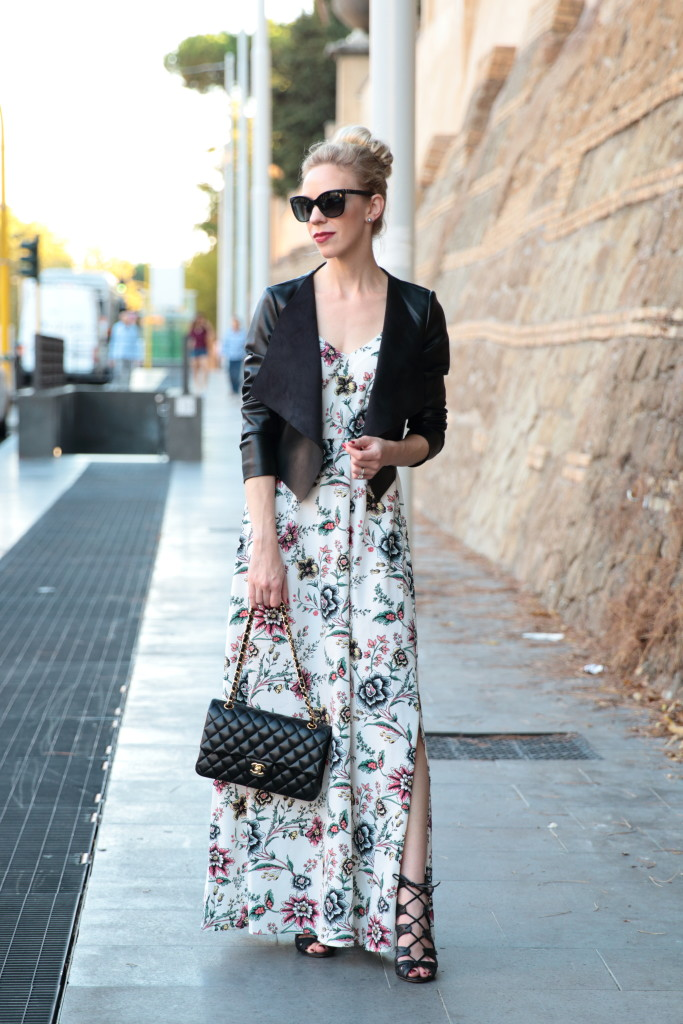 Transitional Maxi: Floral dress, Leather jacket & Lace-up sandals }