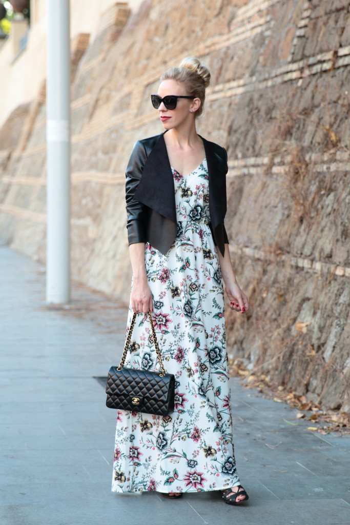 LOFT floral maxi dress with leather jacket, PINKO cropped leather jacket, Chanel medium classic black with gold hardware, how to transition maxi for fall