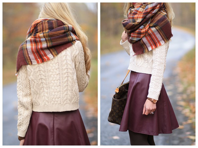 Lauren Conrad for Kohls burgundy leather circle skirt, wine colored leather skirt, cropped cable knit sweater with skirt and tights, Zara burgundy plaid blanket scarf