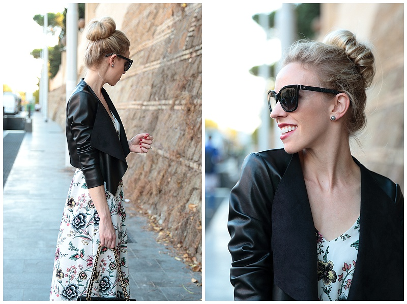 PINKO cropped leather jacket, LOFT floral maxi dress, Chanel black cateye sunglasses
