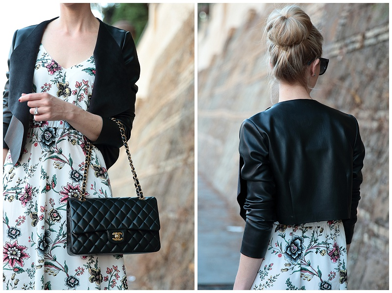 PINKO cropped leather jacket, LOFT floral maxi dress, Chanel medium classic flap bag black with gold hardware, how to wear maxi dress for fall