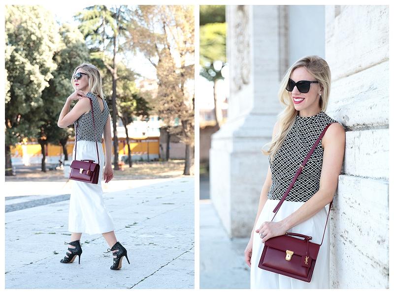 yves saint laurent purses - Roman Beauty: Patterned crop top, White culottes & Lace-up sandals }