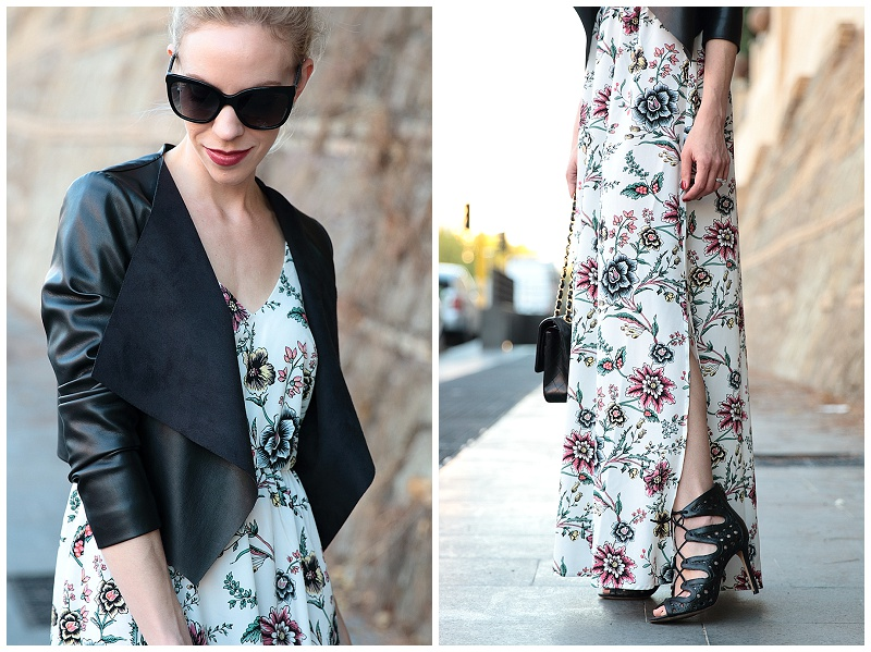 Vince Camuto black lace-up sandals, leather jacket worn over maxi dress, how to transitional maxi dress to fall
