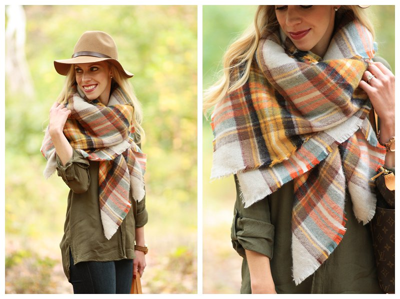 Zara oversized plaid blanket scarf, yellow and orange plaid blanket scarf, H&M camel wool hat, olive tunic shirt, fall layers