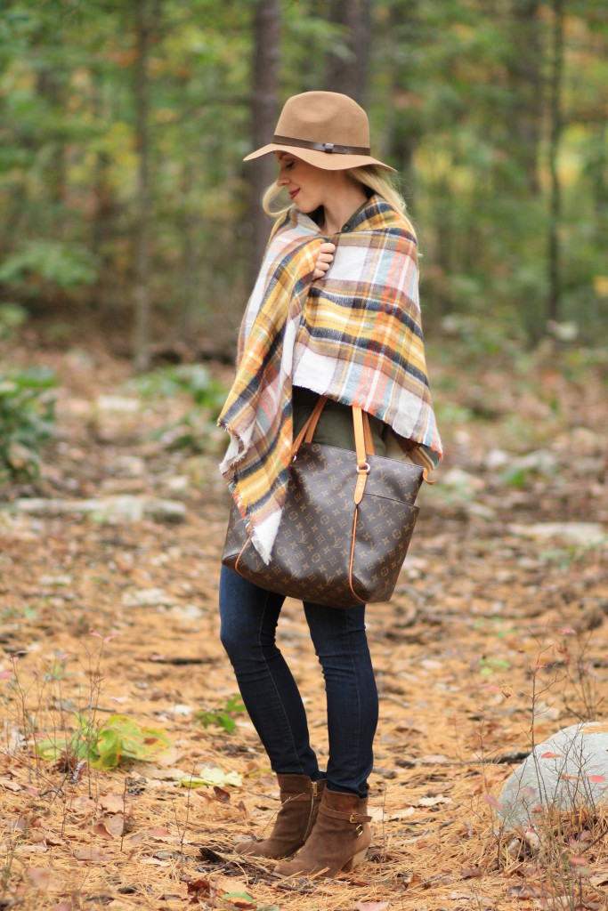 Zara plaid blanket scarf, yellow plaid scarf, H&M camel wool panama hat, Paige verdugo skinny jeans, Louis Vuitton totally MM tote, fall layering, woodsy outfit, how to style a blanket scarf