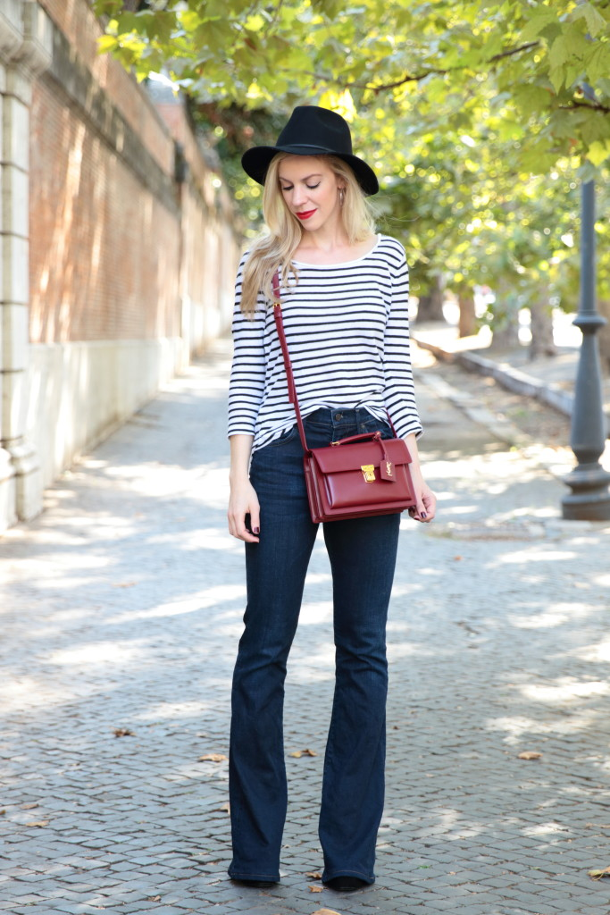 Simple Stripes Black And White Top High Waist Flares