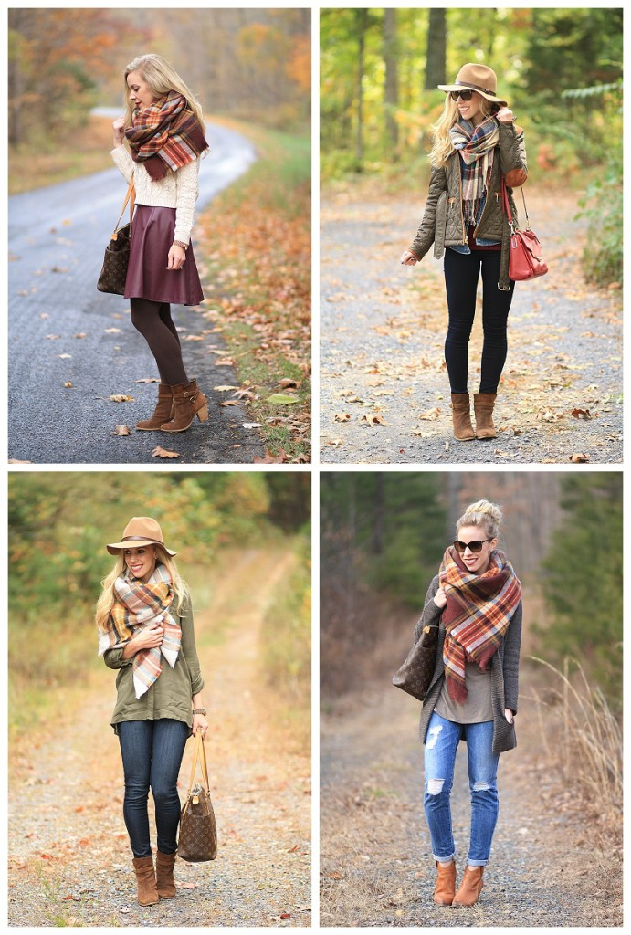 how to wear a blanket scarf, plaid blanket scarf outfit ideas, oversized scarf outfit