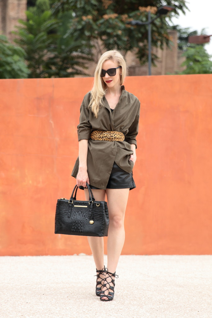 18b270ed93ad olive jacket with wide waist belt, leopard and olive outfit, leather  shorts, how to wear leather shorts, Brahmin small lincoln satchel