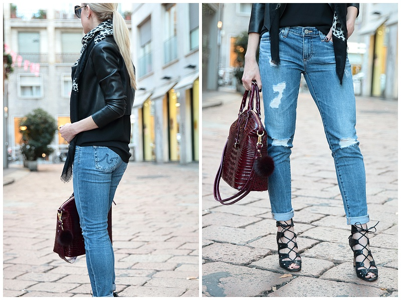 Milan Street Style: Leather jacket, Leopard scarf & Distressed denim }