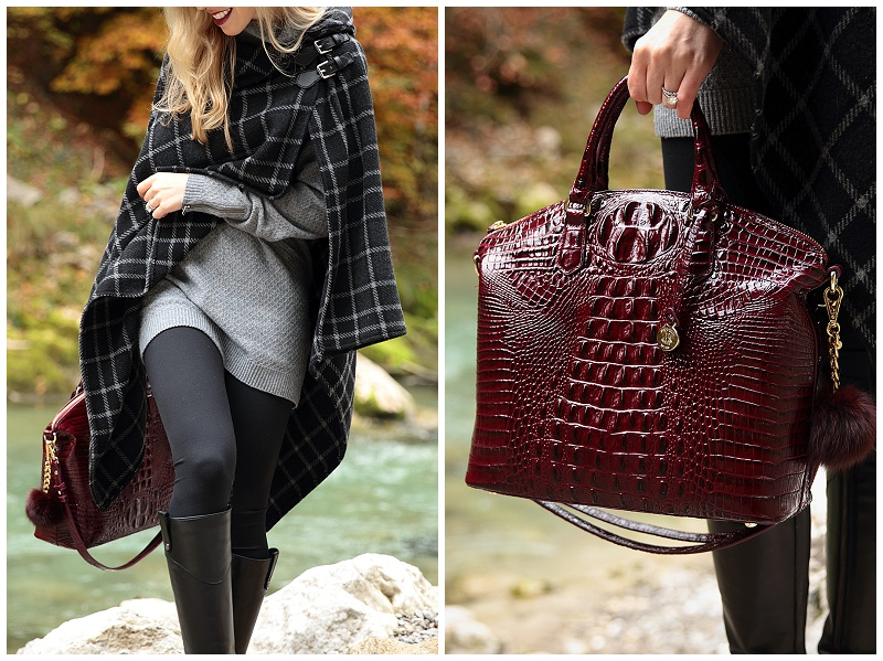 Brahmin Black Cherry Melbourne Burgundy Satchel Ralph Lauren Plaid Poncho With Leggings And Riding Boots Classic Fall Style