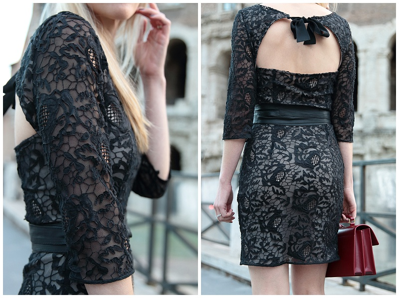 HOSS Intropia black lace bow back dress, lace dress with bow detail, black dress with red handbag outfit