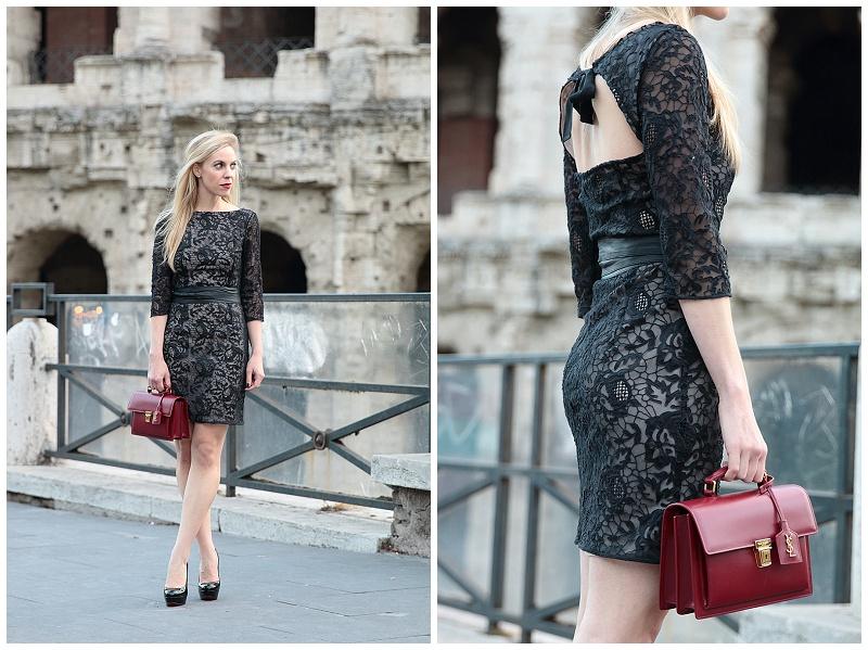 HOSS Intropia black lace dress with bow tie detail, Saint Laurent red handbag, High School satchel, Christian Louboutin Bianca platform pumps, Louis Vuitton AW15 fashion show Rome