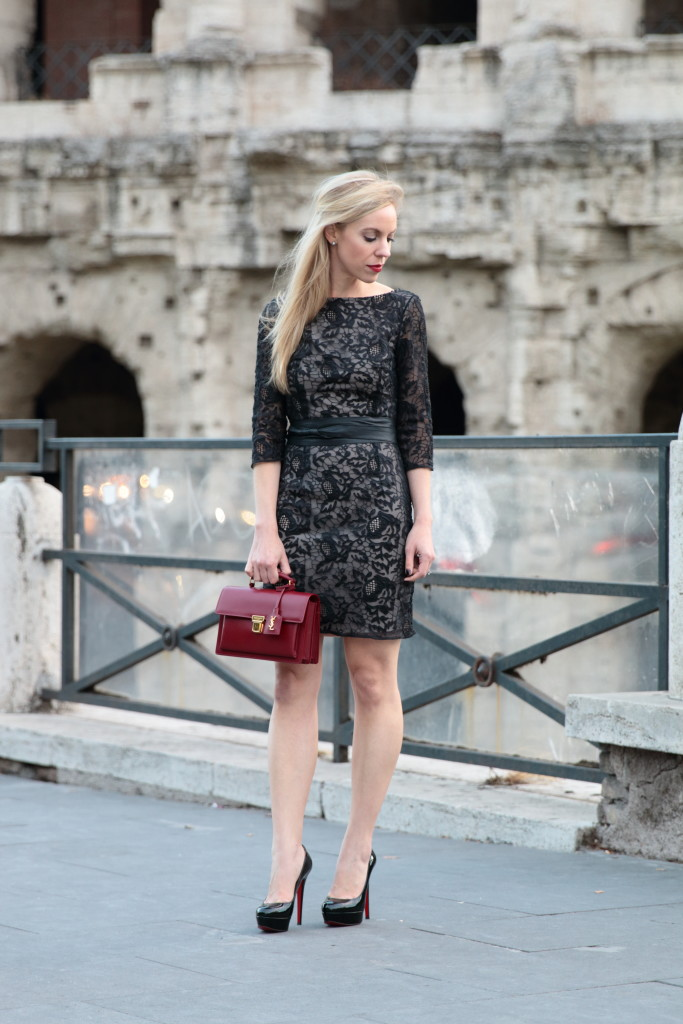 HOSS Intropia black lace dress with leather wrap belt, how to tie leather wrap belt, Saint Laurent High School red satchel, Louis Vuitton AW15 fashion show Rome Italy