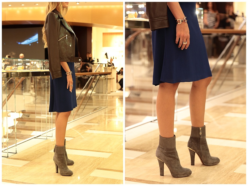 Louis Vuitto gray suede booties AW15 collection, Louis Vuitton leather jacket