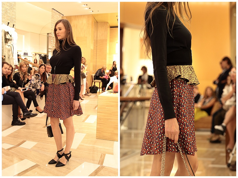 Louis Vuitton AW15 fashion runway show, layered floral skirt with turtleneck