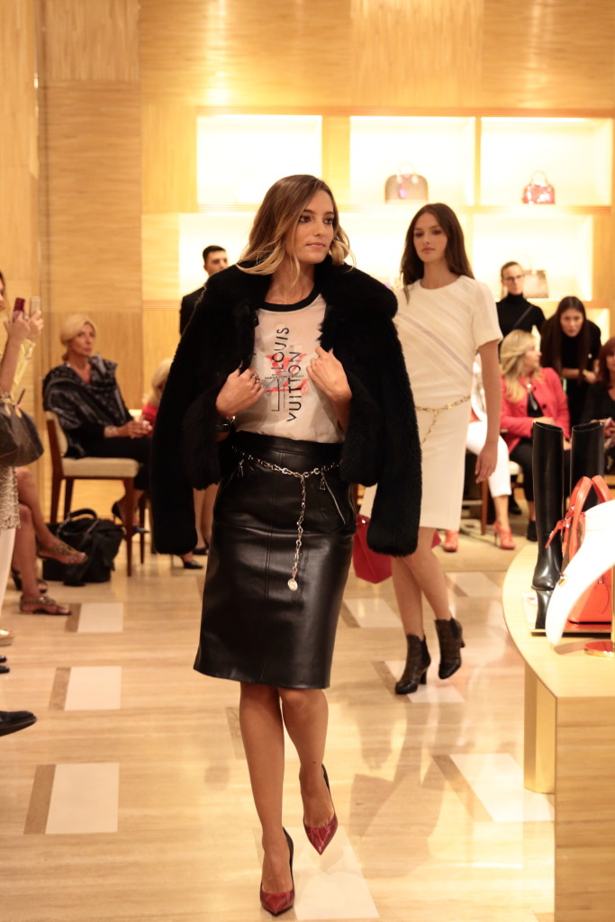 Louis Vuitton AW15 runway show Rome Italy, leather pencil skirt with fur jacket