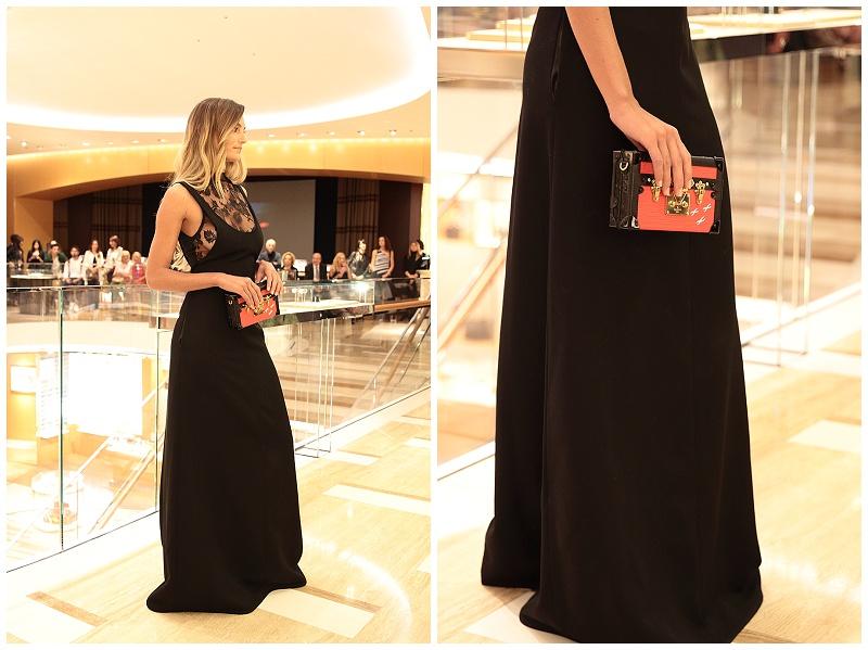 Louis Vuitton fashion runway show Rome Italy, long black lace dress