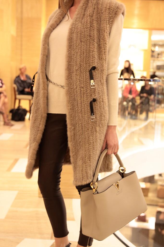 Louis Vuitton fur vest with leather leggings, Louis Vuitton fashion show AW15 Rome Italy