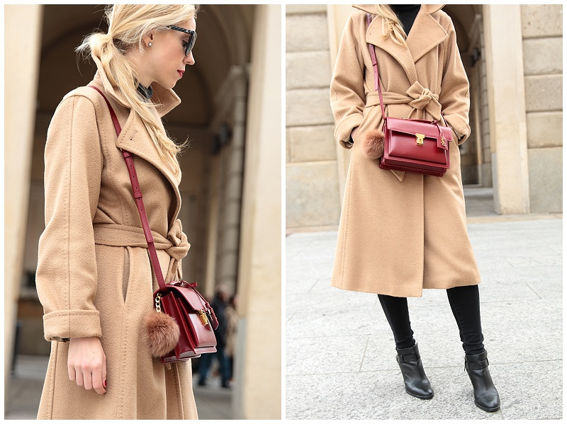 Dash of Red: Camel coat, Distressed denim \u0026amp; Oxblood handbag }
