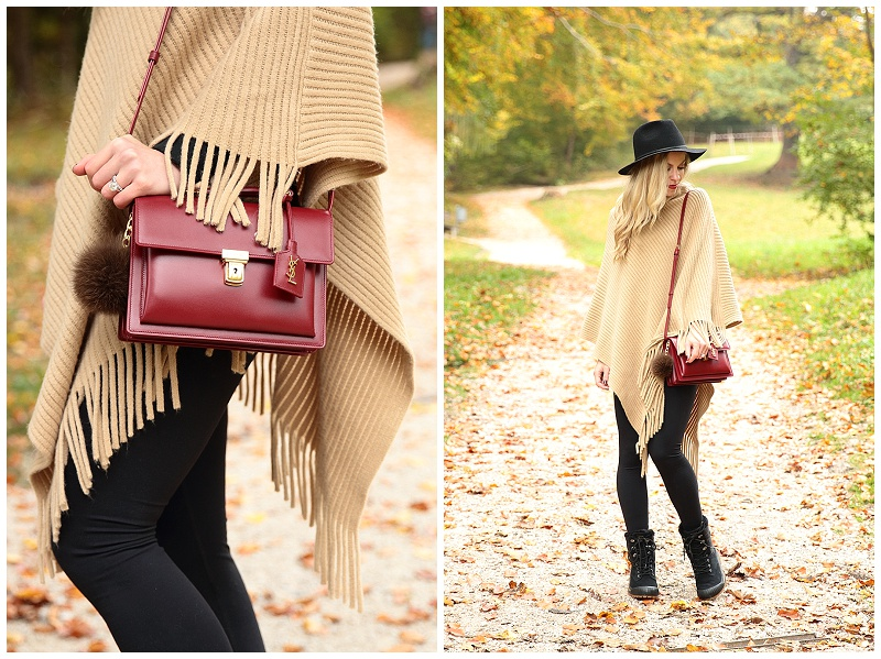 de37d1b55ae Saint Laurent 'High School' oxblood red satchel, handbag with fur puff  accessory, camel fringe poncho, poncho with leggings and duck boots outfit,  ...