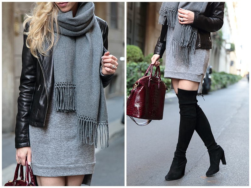 Stuart Weitzman Highland boots with dress, leather jacket and oversized scarf outfit, Milan fashion blogger, how to wear over the knee boots with dress