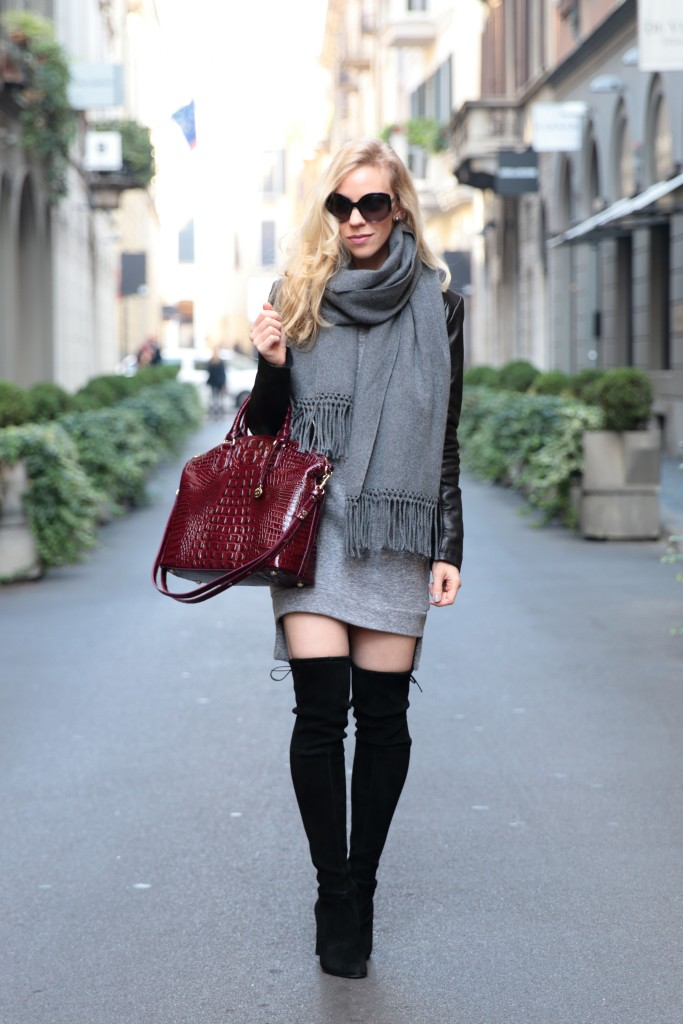 Stuart Weitzman black Highland over the knee boots with dress, leather jacket and oversized scarf outfit, how to look classy in thigh high boots, Brahmin black cherry melbourne Duxbury bag