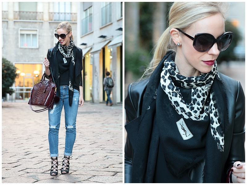 Milan Street Style: Leather jacket, Leopard scarf \u0026amp; Distressed denim }