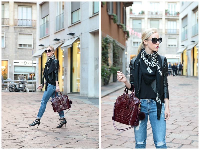 Milan Street Style: Leather jacket, Leopard scarf \u0026amp; Distressed denim }