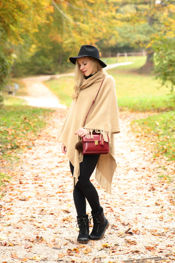 { Crisp Autumn Walk Fringe poncho Wool fedora u0026 All-weather boots } - Meaganu0026#39;s Moda