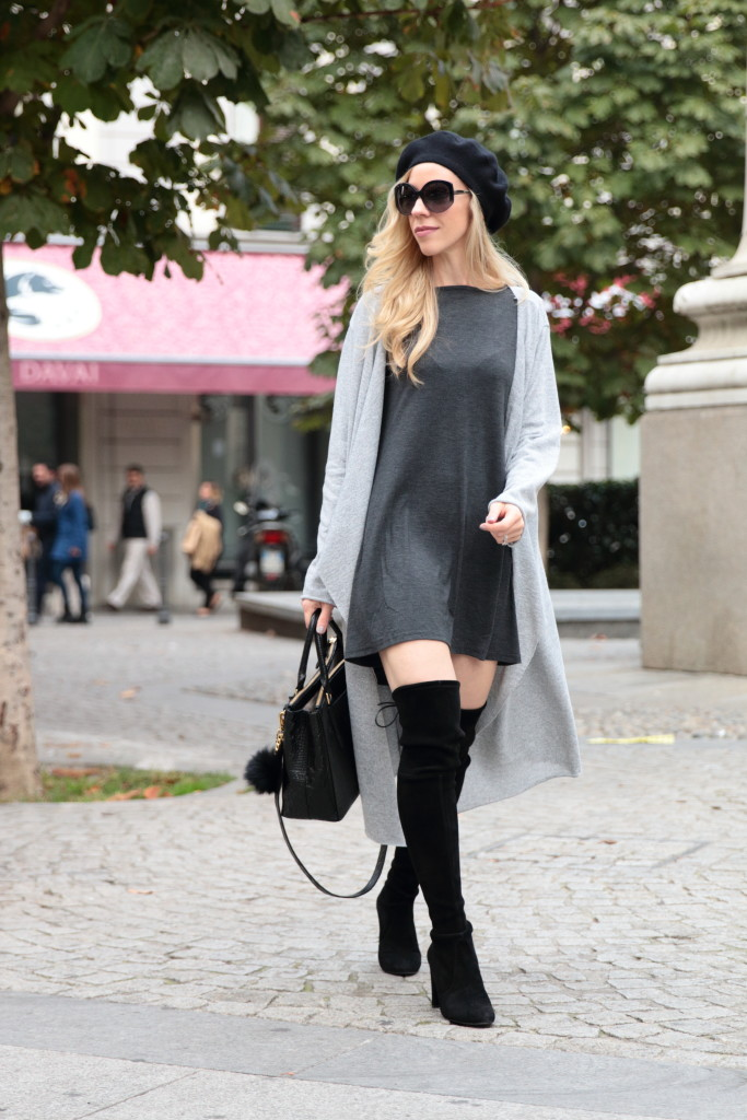 Maxi Cardigan With Mini Dress Over The Knee Boots With Dress Outfit
