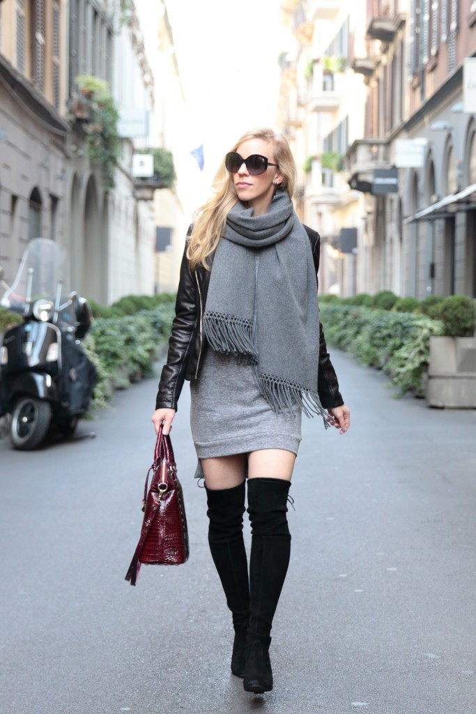 oversized gray cashmere scarf with black leather jacket, dress with thigh high boots, Stuart Weitzman Highland black suede boots outfit, how to wear over the knee boots, Milan fashion