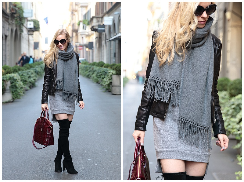 oversized gray cashmere scarf with leather jacket outfit, Stuart Weitzman Highland black suede thigh high boots, burgundy and gray outfit, Milan fashion blogger