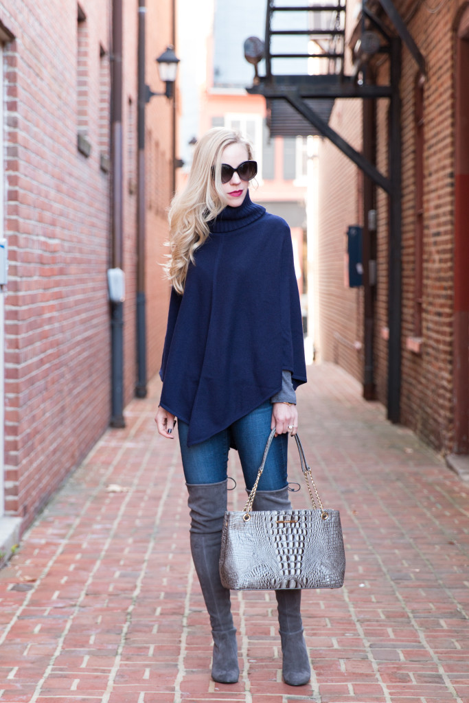 6b9abd04331 Classic Cashmere: Turtleneck poncho, Embossed tote & Gray suede ...