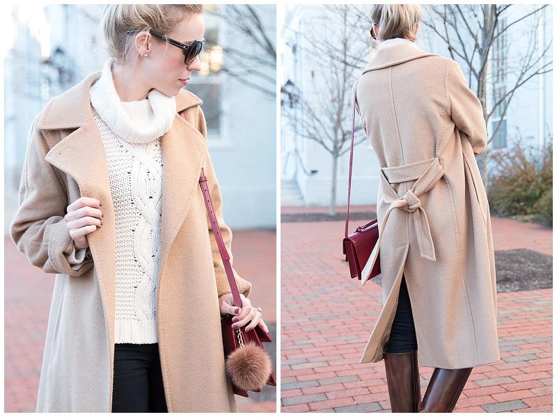 Ann Taylor winter white cream cashmere turtleneck sweater with camel coat, Max Mara camelhair wrap coat, best classic camel coat