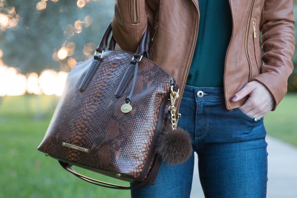 Brahmin snakeskin Duxbury satchel with fur puff accessory, camel leather jacket, camel brown and forest green color pairing