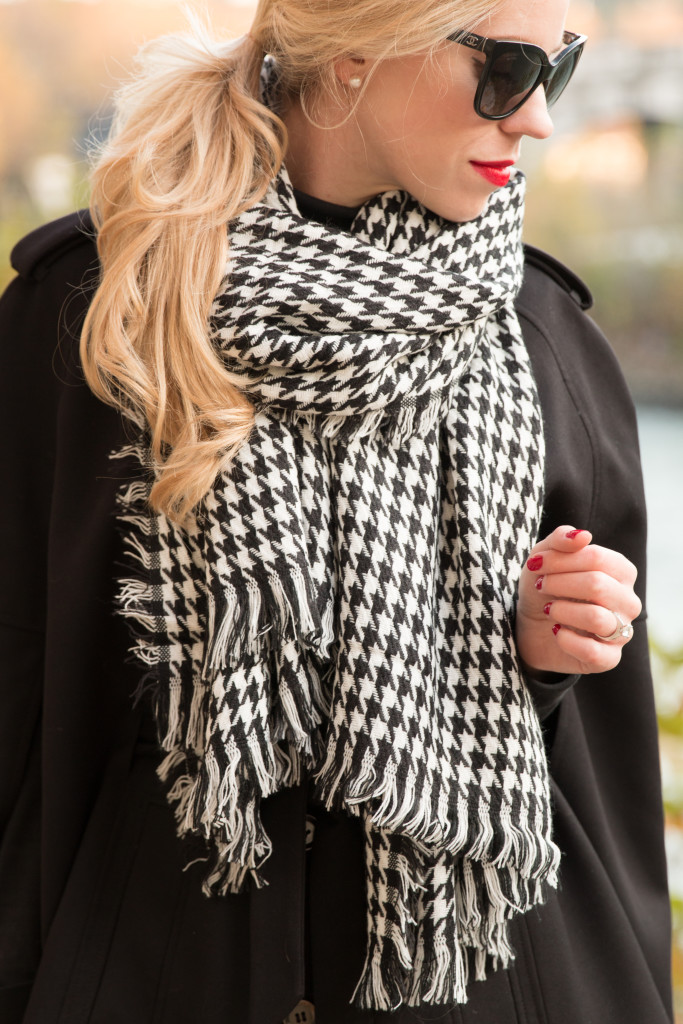 Clinique Matte Crimson red lipstick, black and white houndstooth scarf, holiday outfit with houndstooth print