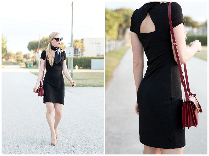 French Connection black dress with cutout back, red Saint Laurent handbag, Christian Louboutin nude pigalle pumps, little black dress with red handbag outfit, classic black dress