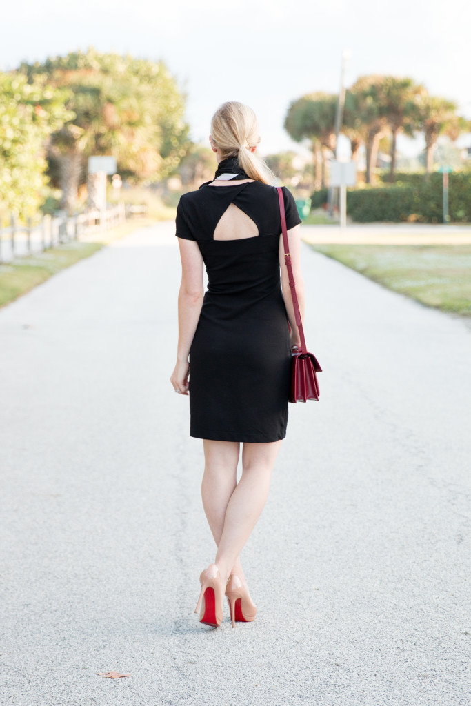 French Connection little black dress, Louboutin nude patent Pigalle pumps, black dress with red handbag classic outfit