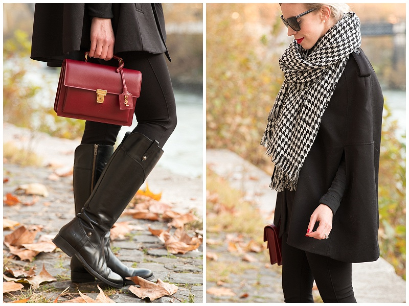 Frye Melissa Tab Tall black riding boots, Saint Laurent oxblood red High School bag, houndstooth scarf with cape holiday outfit, how to wear a cape for the holidays
