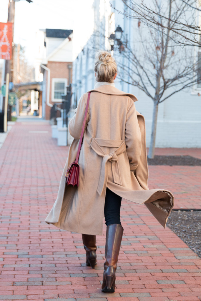 Max Mara Manuela camel hair wrap coat, classic camel coat, Frye riding boots, best classic camel coat for fall and winter