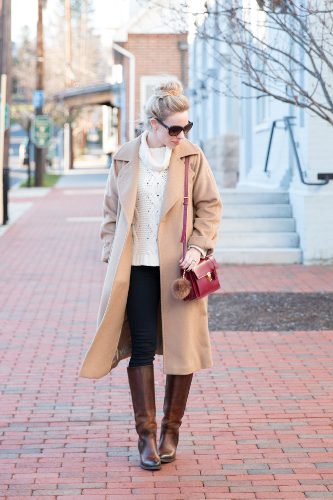 Max Mara Manuela camelhair coat, cream turtleneck sweater with camel coat, Frye 'Mustang' riding boots, red YSL High School satchel, camel coat with red handbag