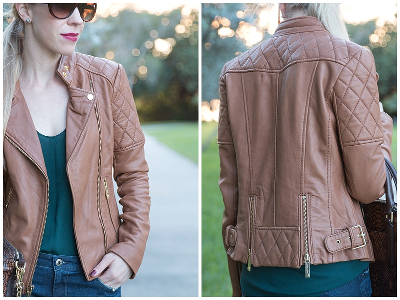 Michael Kors camel tan leather jacket, forest green and brown outfit, tan leather jacket outfit for fall