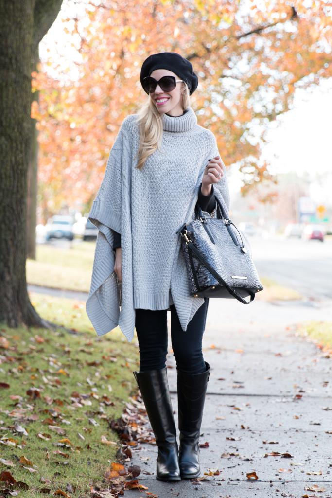 Comfy Cable: Turtleneck poncho, Cashmere beret & Riding boots }
