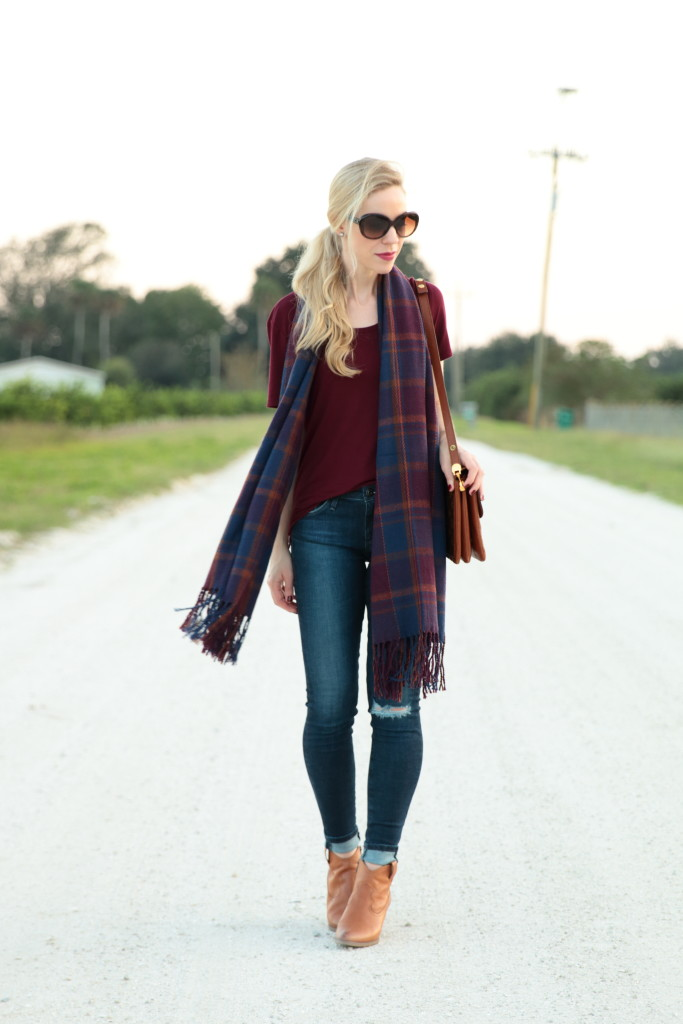 { Ninety in November Plaid scarf Distressed denim u0026 Western booties } - Meaganu0026#39;s Moda