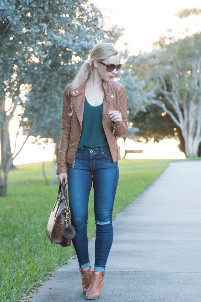 camel leather jacket, forest green and camel outfit, AG jeans legging ankle, camel leather jacket and distressed denim with booties