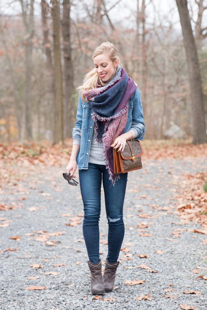 { Denim Woods: Western shirt, Blanket scarf & Studded ...
