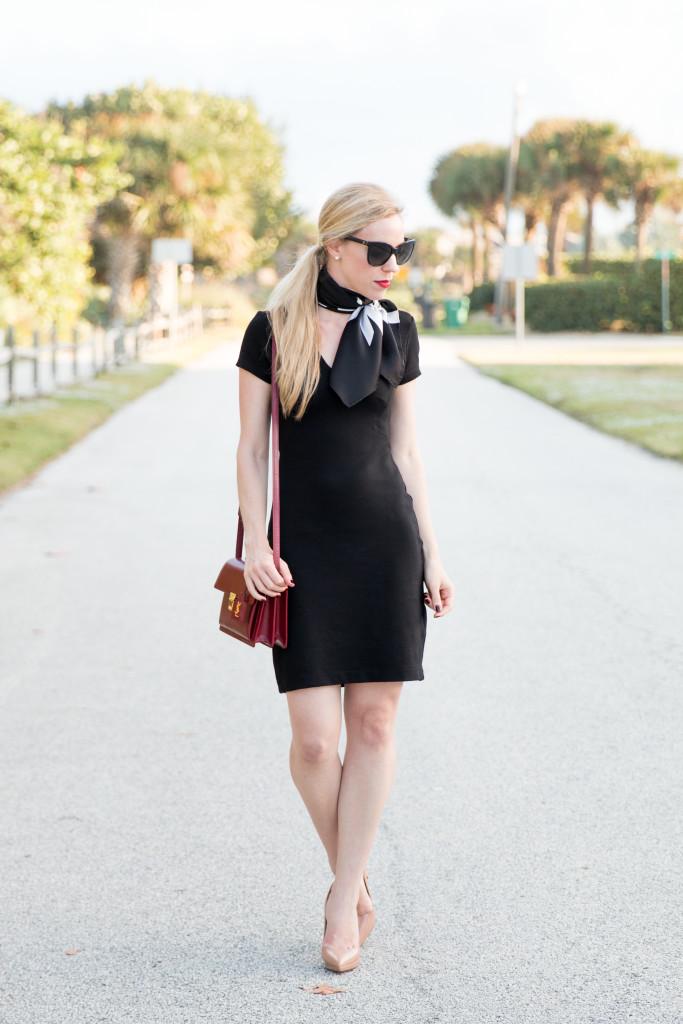 Chic Details Little Black Dress Vintage Silk Scarf Nude Patent