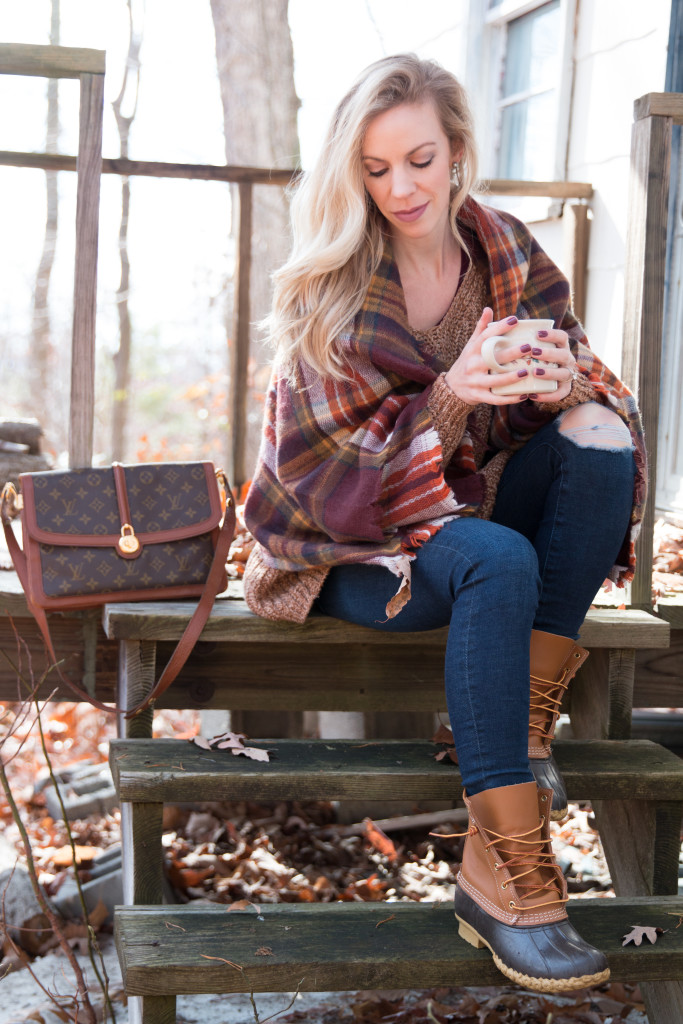 plaid blanket scarf outfit, how to wear a blanket scarf, AG jeans distressed jeans, duck boots outfit, LL Bean duck boots, duck boots with plaid scarf