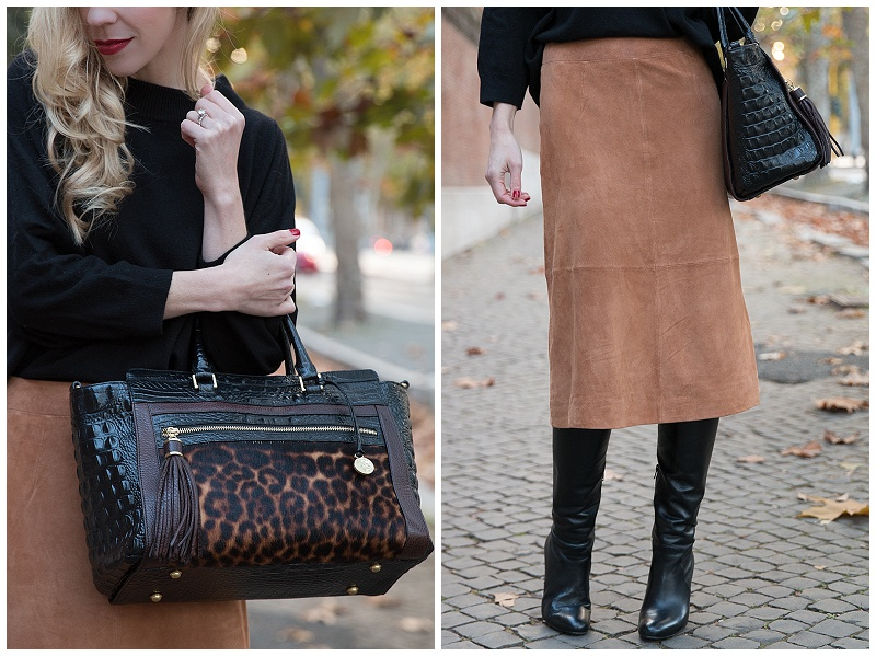 Ann Taylor camel suede midi skirt, how to wear midi skirt with knee high boots, camel skirt and black sweater, Brahmin leopard print Anna satchel, suede skirt and black boots outfit